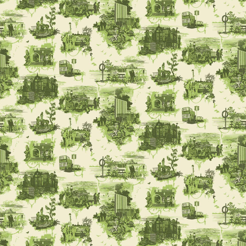 Timorous Beasties 'Edinburgh Toile' Wallpaper Green