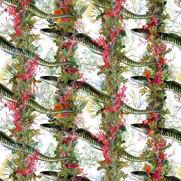 Timorous Beasties 'Eel Colonnade' Wallpaper White