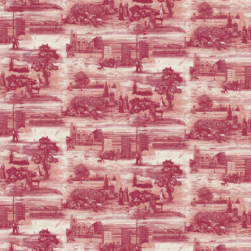 Timorous Beasties 'Glasgow Toile' Wallpaper Red
