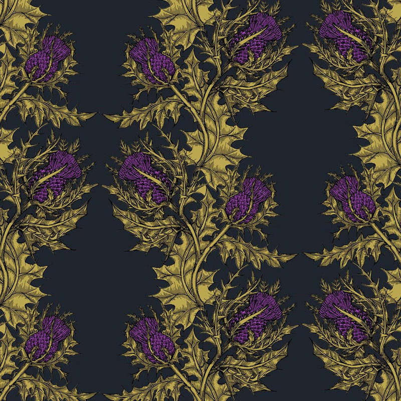 Grand Thistle Hand-Print Wallpaper Gold on Black