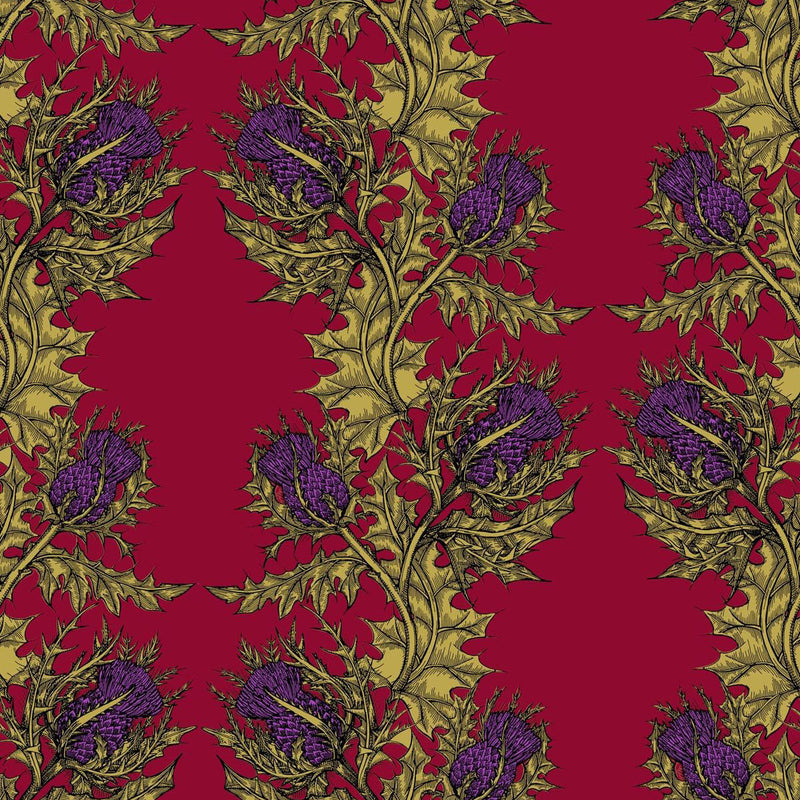 Grand Thistle Hand-Print Wallpaper Gold on Red