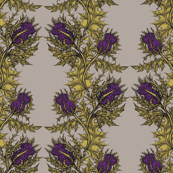 Grand Thistle Hand-Print Wallpaper Gold on Stone