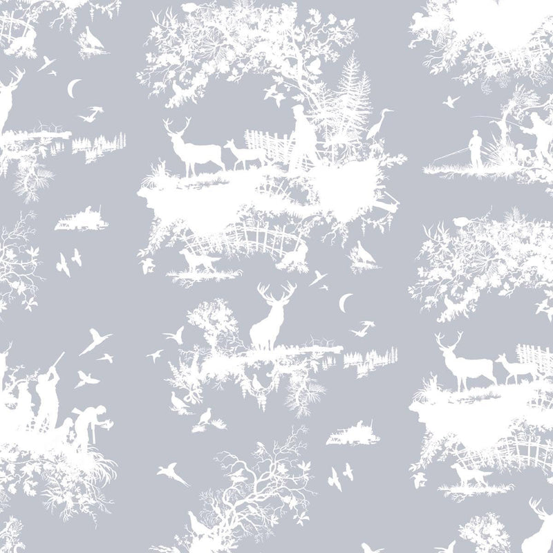 Timorous Beasties 'Hunting Toile' Wallpaper White on Pale Blue