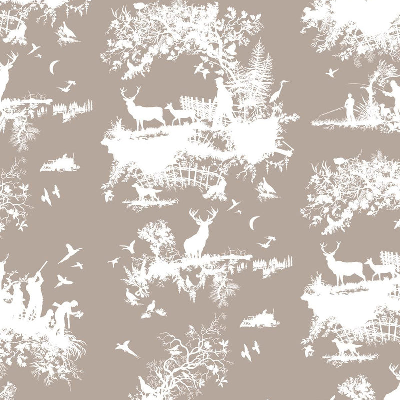 Timorous Beasties 'Hunting Toile' Wallpaper White on Stone
