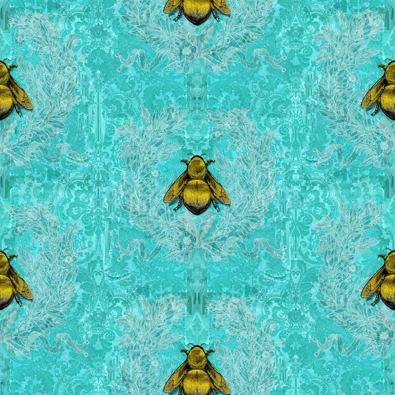Timorous Beasties 'Imperial Apiary' Wallpaper Red Blue
