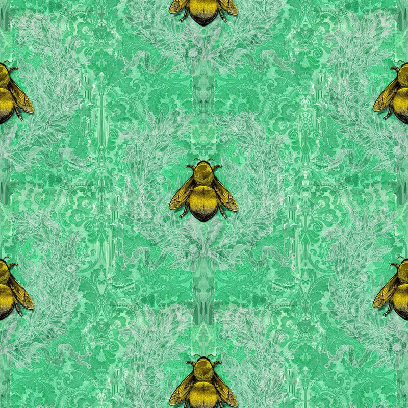 Timorous Beasties 'Imperial Apiary' Wallpaper Green