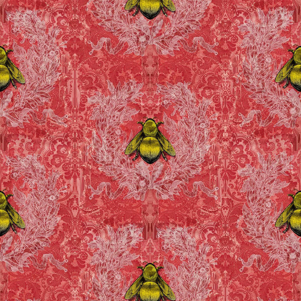 Timorous Beasties 'Imperial Apiary' Wallpaper Red