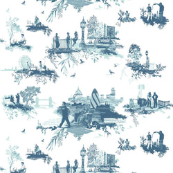 Timorous Beasties London Toile Fabric Blues
