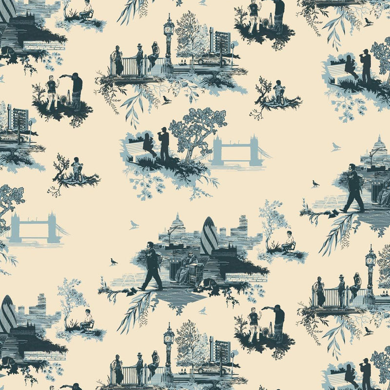 Timorous Beasties 'London Toile' Wallpaper Blues on Cream