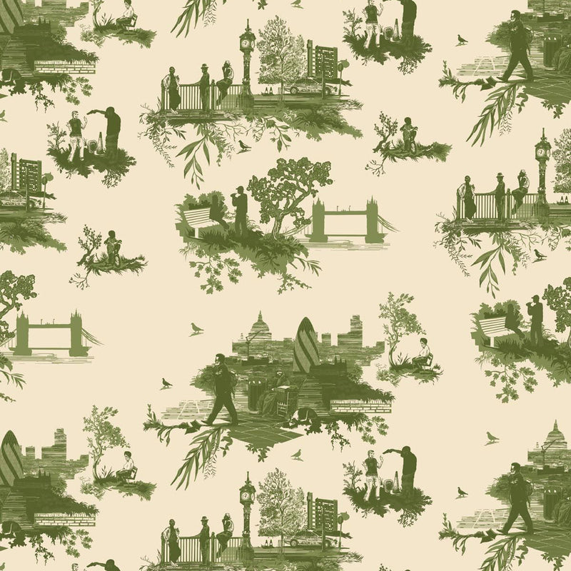 Timorous Beasties 'London Toile' Wallpaper Greens on Cream