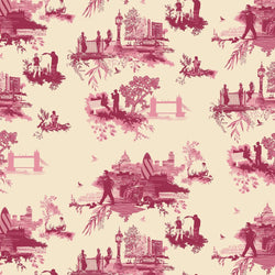Timorous Beasties 'London Toile' Wallpaper Red & Pink on Cream