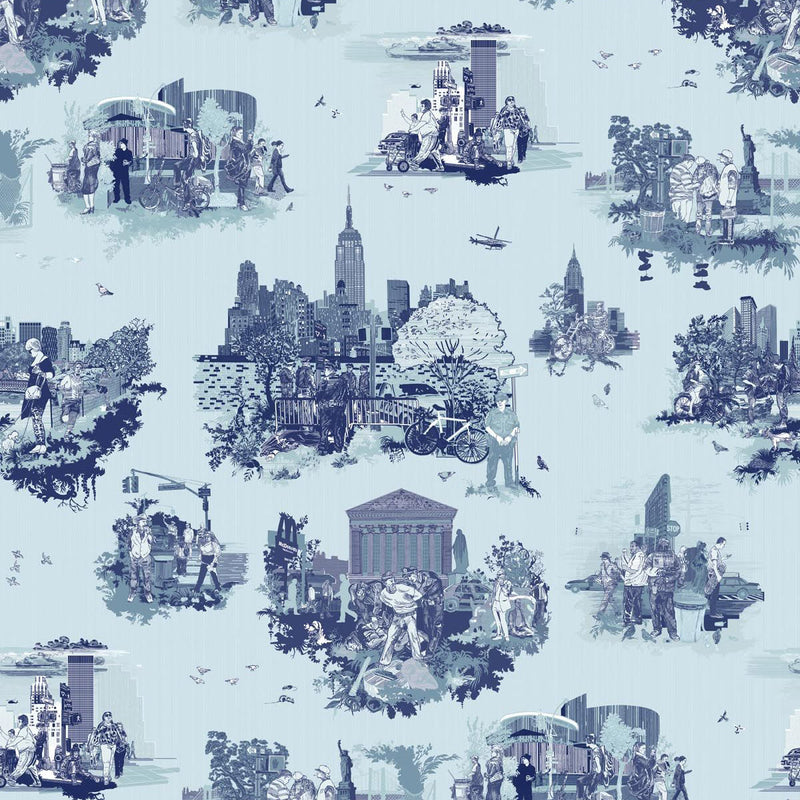 Timorous Beasties 'New York Toile' Wallpaper Blues