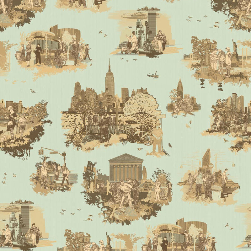 Timorous Beasties 'New York Toile' Wallpaper Browns on Green
