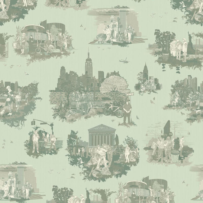 Timorous Beasties 'New York Toile' Wallpaper Greens