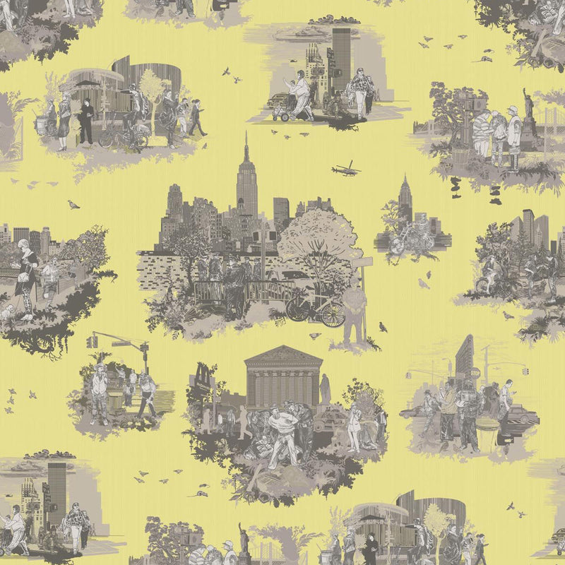 Timorous Beasties 'New York Toile' Wallpaper Greys on Yellow