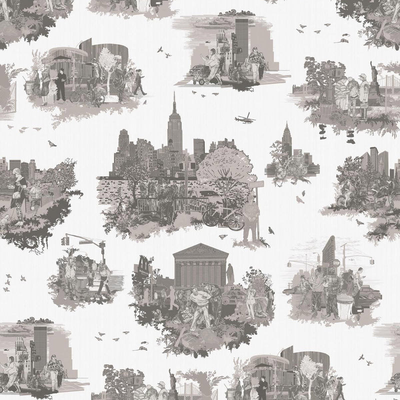 Timorous Beasties 'New York Toile' Wallpaper Greys