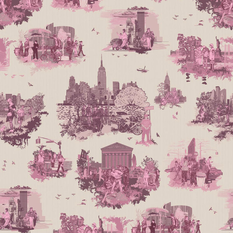 Timorous Beasties 'New York Toile' Wallpaper Pinks