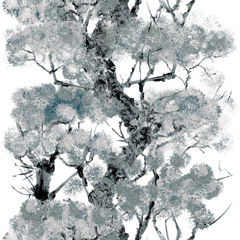 Timorous Beasties Pinyin Tree Superwide Wallpaper Grey