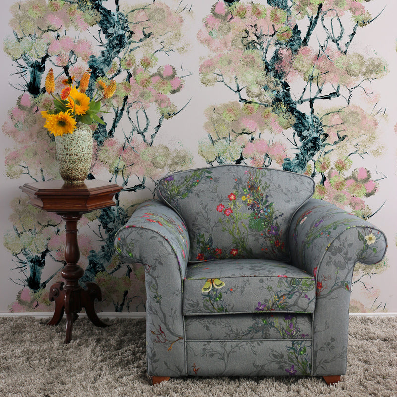 Timorous Beasties Pinyin Tree Superwide Wallpaper Pink Roomset