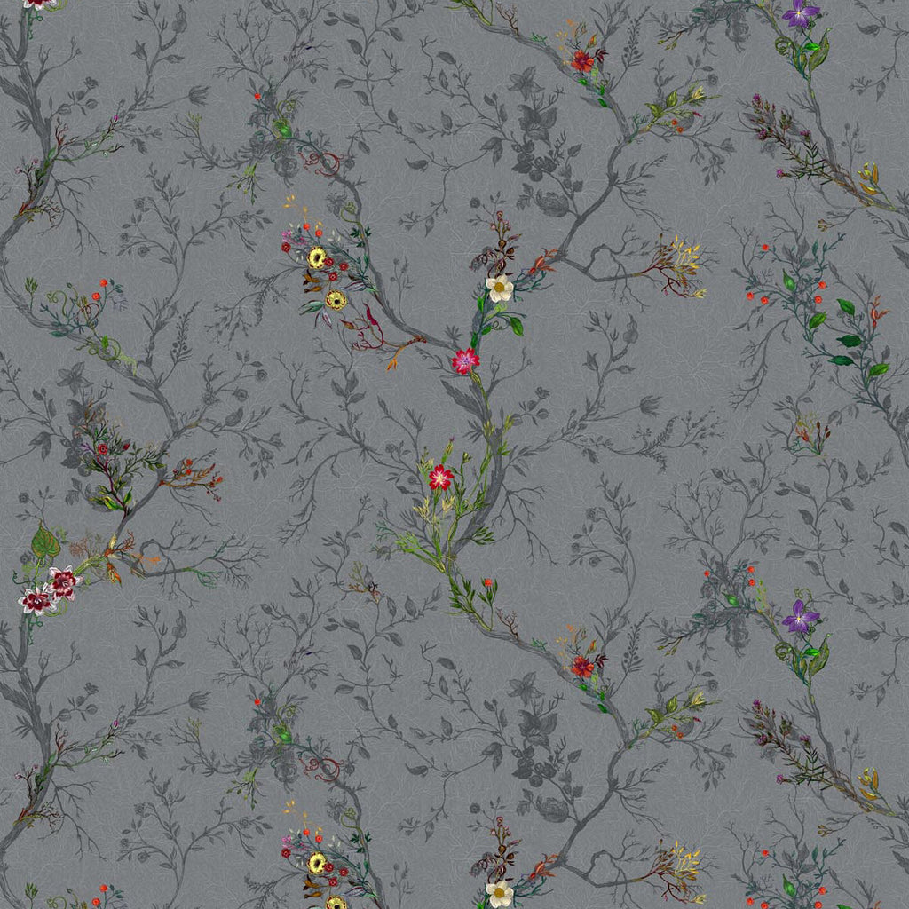 Timorous Beasties Ruskin Floral Fabric Charcoal