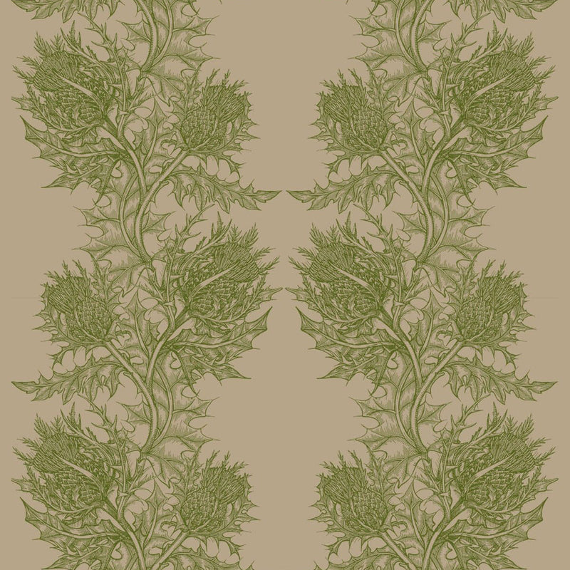 Timorous Beasties Thistle Fabric Olive Green