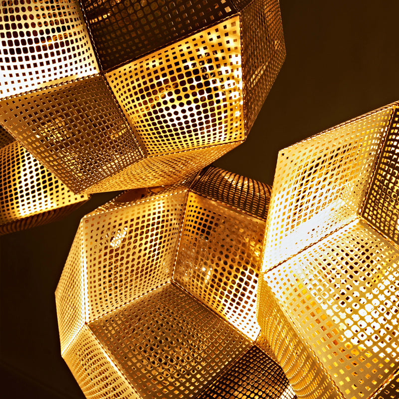 Tom Dixon Etch Pendant 50cm Brass Close Up