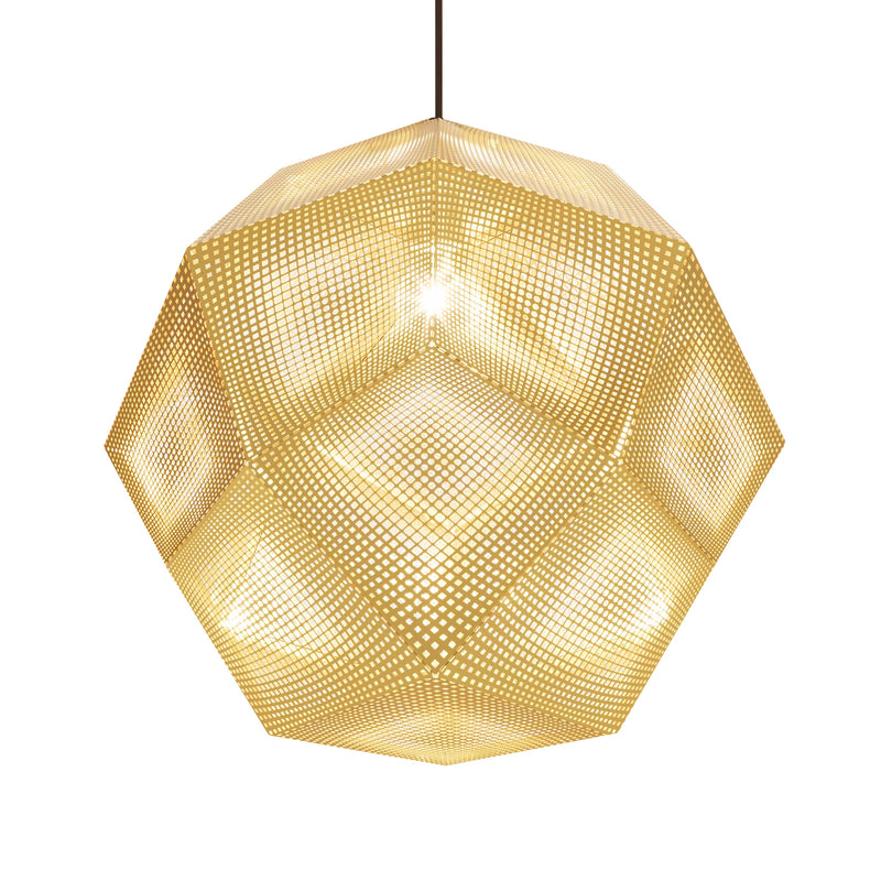 Tom Dixon Etch Pendant 50cm Brass Light On