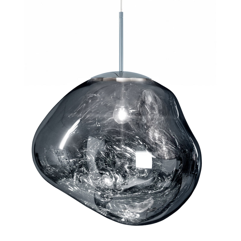 Tom Dixon Melt Pendant 50cm Chrome Light On
