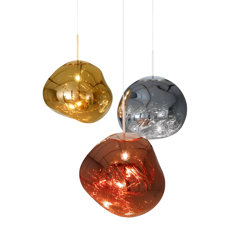 Tom Dixon Melt Pendant 50cm Copper Group Light On