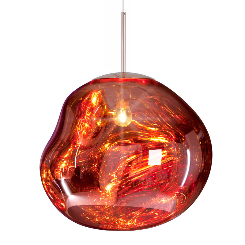 Tom Dixon Melt Pendant 50cm Copper Light On