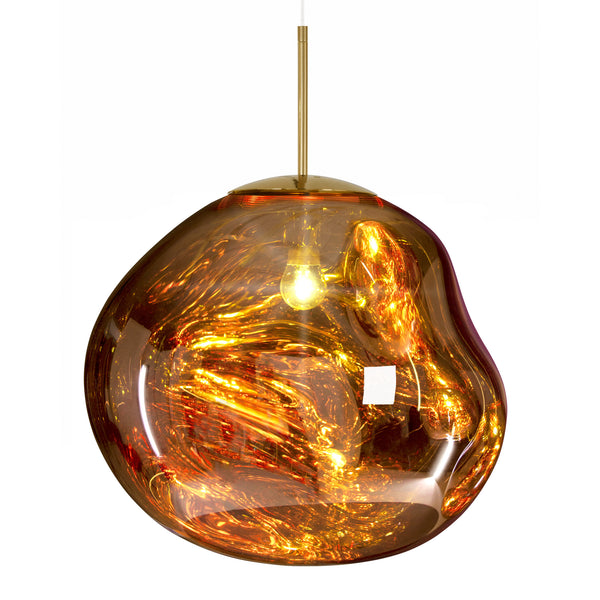 Tom Dixon Melt Pendant 50cm Gold Light On