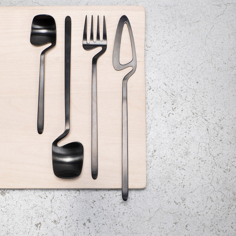 Valerie Objects Skeleton Cutlery by Nendo (16 Piece Set) Black Flat