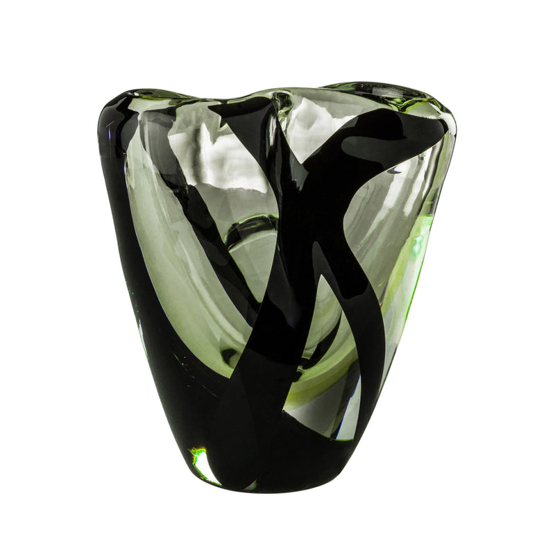 Venini 'Black 'Belt Otto Vase' by Peter Marino - Medium Grass Green