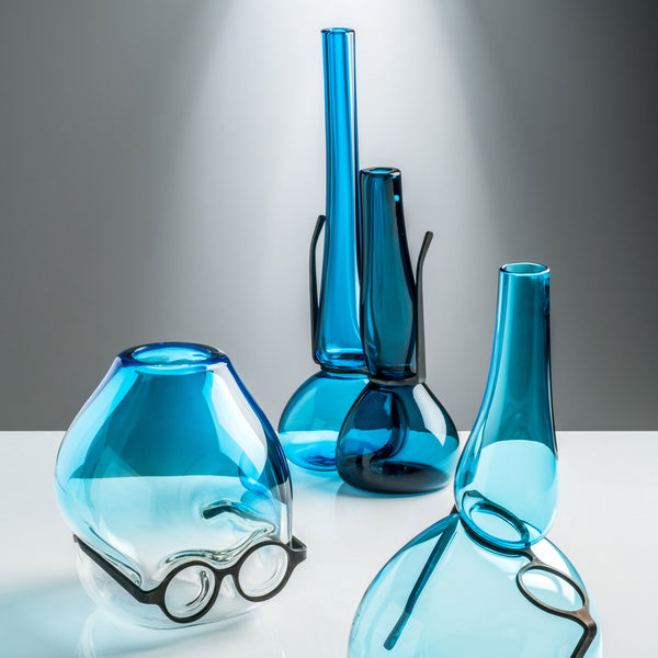 Venini Where Are My Glasses - Double Lens Vase Horizon/Aquamarine Group