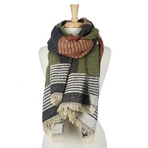 Olive, Beige and Charcoal Gray Scarf