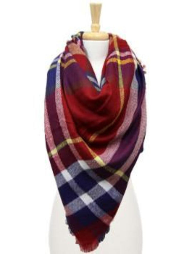 Burgundy, Navy, and Mustard Blanket Scarf