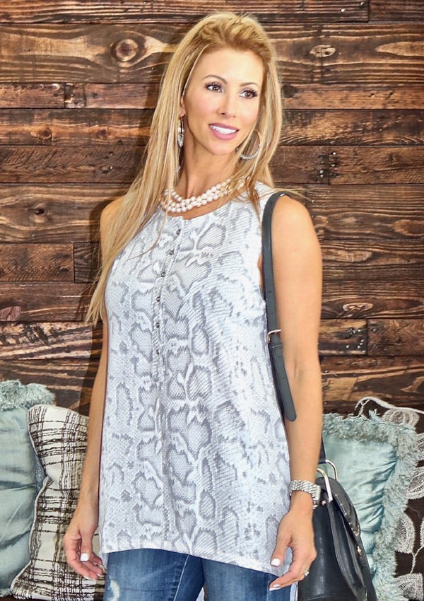 Snake Print Sleeveless Top