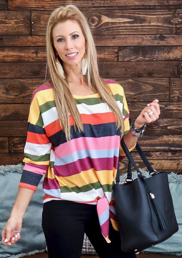 Multi Color Stripe Terry Top