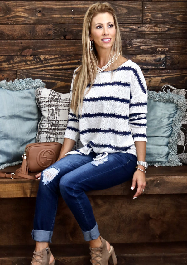 Ivory and Navy Striped Knit Top