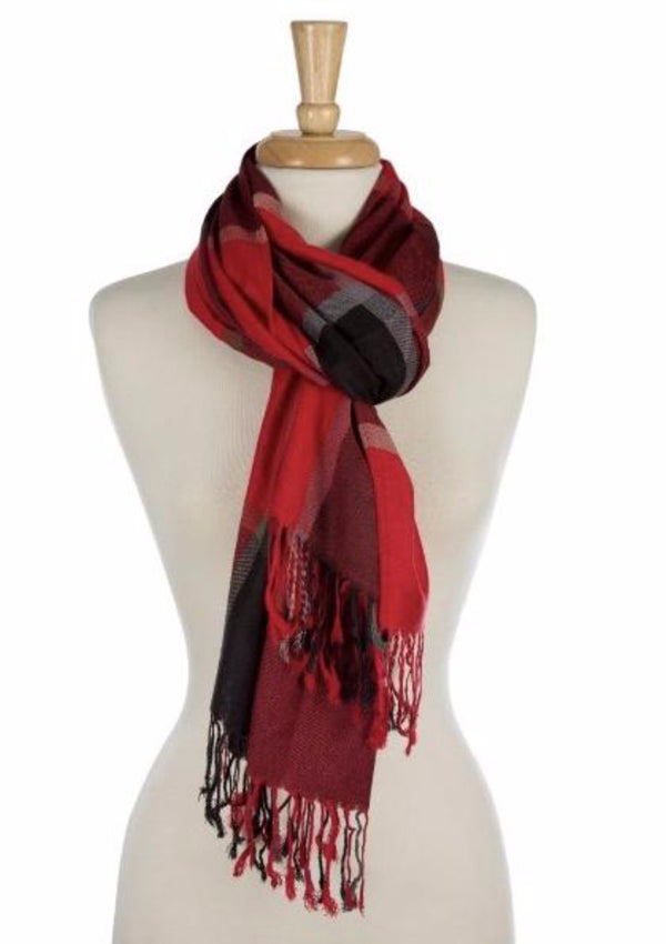 "I'm in love with these super soft, lightweight, plaid scarfs with their frayed edges!  They so easy to wear and can go with nearly everything.    Color - Grey Plaid, Red Plaid Fabric - 100% Viscose Length - 27"" X 72"""