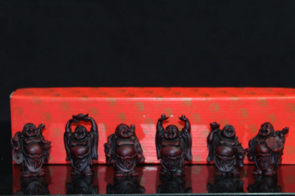 Set of 6 lucky Buddhas in presentation box - approx 6 cm