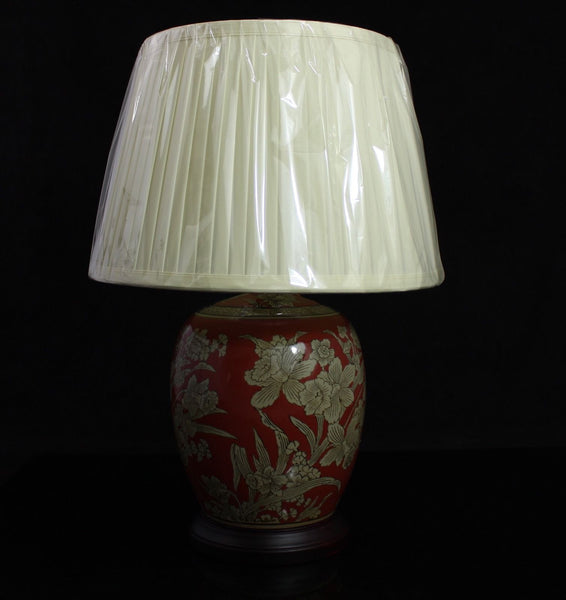 "10"" Porcelain Jar Oriental Lamp with gold daffodil decoration 52 cm with shade"