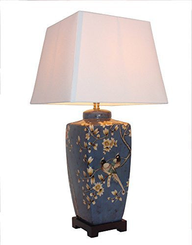Birds of Paradise Chinese Table Lamp (Pair)