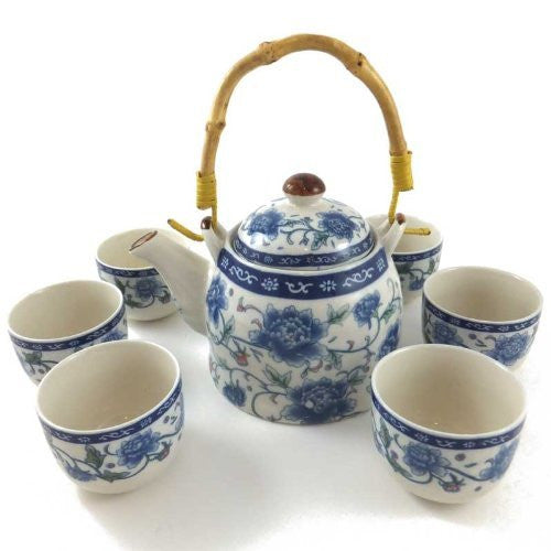 Chinese blue and white porcelain tea set - Peony Design