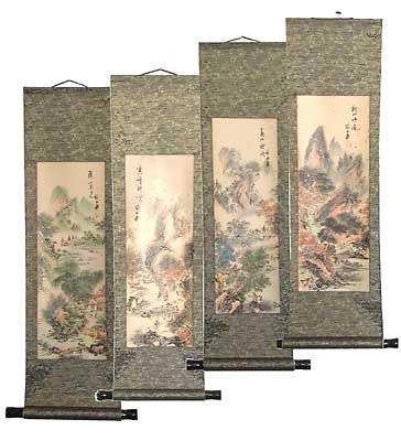 Four Seasons Scrolls - 4 Hand Painted Chinese Wall Scrolls