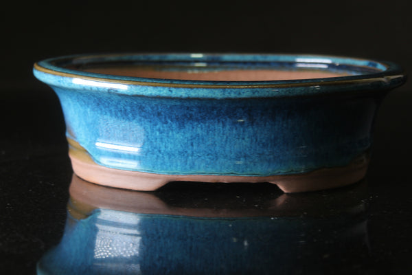 Blue glazed Oval Bonsai pot - 21 cm