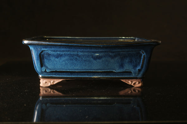 Blue glazed Rectangular Bonsai pot - 26 cm