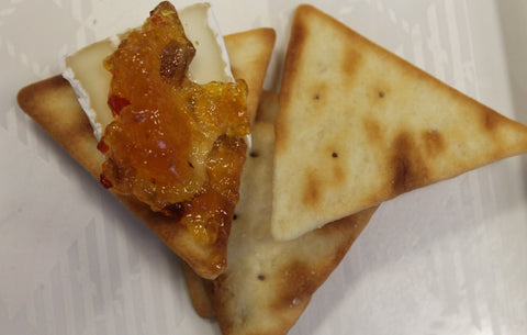 Golden Pecan Pepper Jelly with Brie