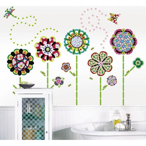 Flower Power Wall Art Sticker Kit
