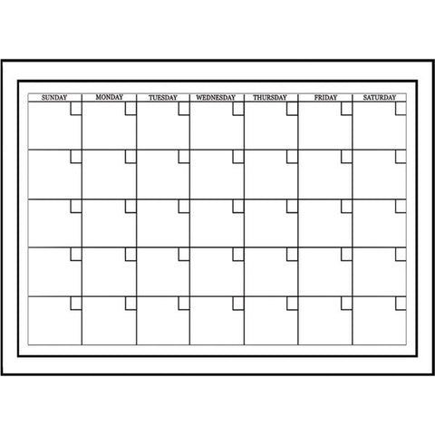 White Board Monthly Calendar Decal